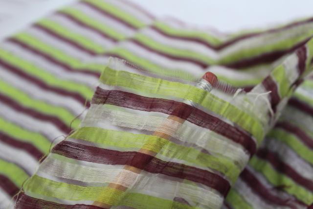 vintage cotton organdy, crinkle sheer fabric w/ horizontal stripe chocolate & lime green