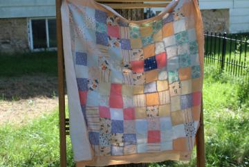 vintage cotton patchwork large square sham or tiny quilt, romantic country shabby cottage chic
