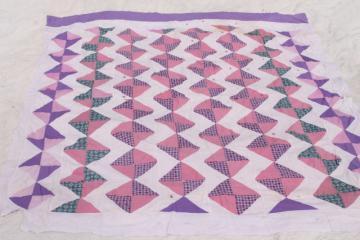 vintage cotton patchwork quilt top, shabby chic pink & lavender prints