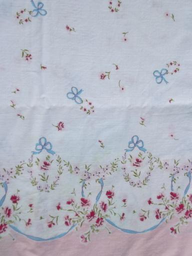 Vintage Cotton Pillowcases 1950s Floral Border Print