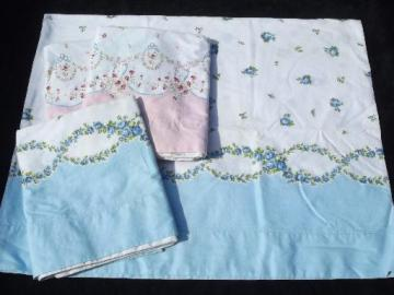 vintage cotton pillowcases, 1950s floral border print fabric, pink and blue