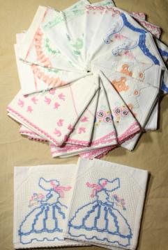 vintage cotton pillowcases w/ embroidery and crochet lace edgings, embroidered fancywork