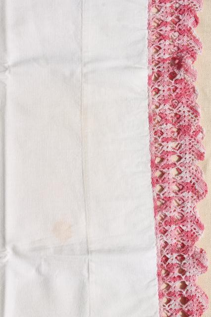 vintage cotton pillowcases w/ pink thread edgings, crochet & knitted lace borders