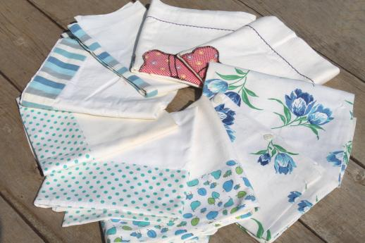 vintage cotton pillowcases w/ print borders &feed sack fabric trims, shabby cottage bedding lot