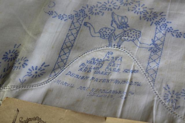 vintage cotton pillowcases stamped for embroidery, girl in arbor & cats novelty designs