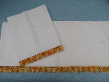 vintage cotton pillowcases w/ tatting, wide tatted lace in oranges