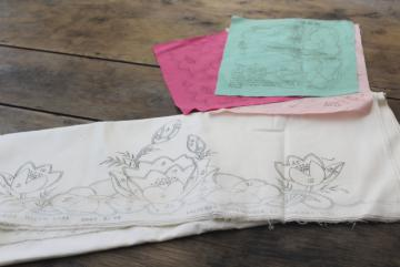 vintage cotton pillowcases to applique & embroider, stamped design & pieces printed fabric
