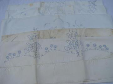 vintage cotton pillowcases to embroider & applique, baby animals, Indians