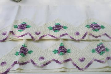 vintage cotton pillowcases w/ wide lace border, crochet edging w/ purple flowers