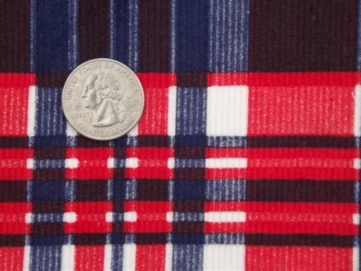 vintage cotton pin cord fabric, red & blue plaid print corduroy fabric