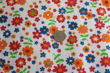 vintage cotton pique fabric, bright summer flowers print on white