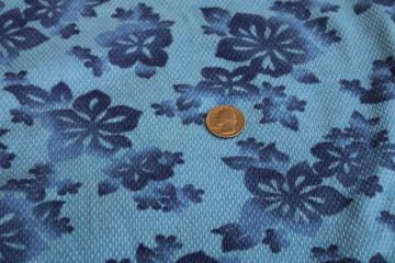 vintage cotton pique knit fabric, tiki tropical flowers print in blues