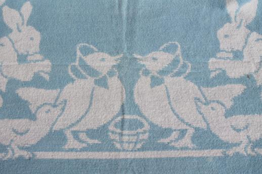 vintage cotton plush baby blanket, reversible bunnies & ducks in blue & white