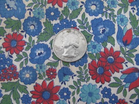 vintage cotton print fabric, 36'' wide, red & blue flowers