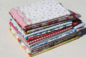 vintage cotton print fabric & feed sack fabric pieces, quilting prints lot