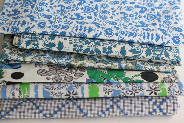 vintage cotton print fabric in blues, happy stack prints for projects or quilting