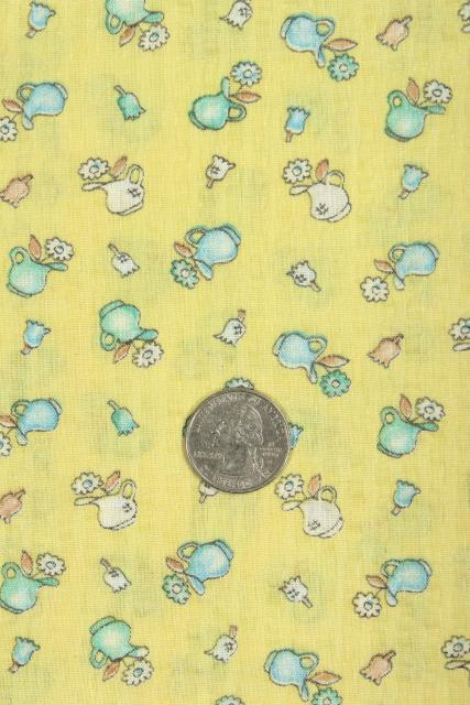 vintage cotton print fabric, romantic country style wash pitchers full of flowers