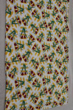 vintage cotton print feed bag, feedsack fabric still sewn up as a sack