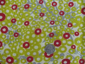vintage cotton print feed sack fabric, mod chartreuse dots, grey leaves