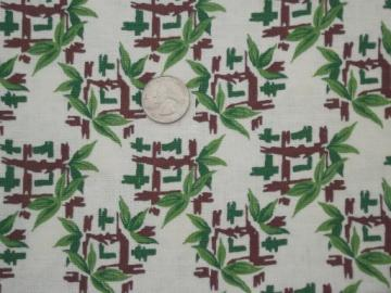 vintage cotton print feed sack fabric, retro 50s pattern of chinese bamboo