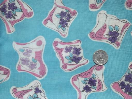 vintage cotton print feed sack fabric, scrolls of violets on turquoise
