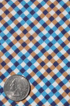 vintage cotton print feedsack fabric, blue & brown gingham plaid feed sack