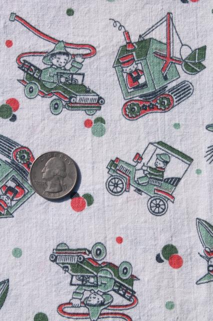 vintage cotton print feedsack fabric, boys toys machines, steam shovels, rockets