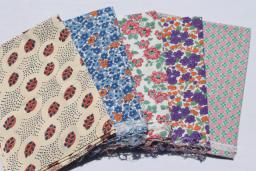 vintage cotton print feedsack fabric lot, authentic farm feed sacks grain bags
