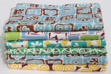 vintage cotton print feedsack fabric lot, deco modern retro geometric abstract patterns