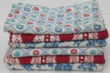 vintage cotton print feedsack fabric lot, red, white, blue farm feed sacks grain bags