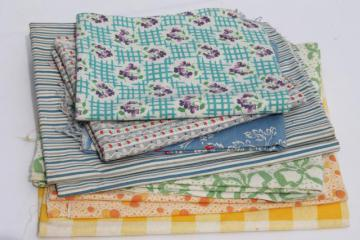 vintage cotton print & feedsack prints fabric lot, feed sack quilt fabric pieces