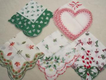 vintage cotton print hankies, Christmas & holiday printed handkerchiefs