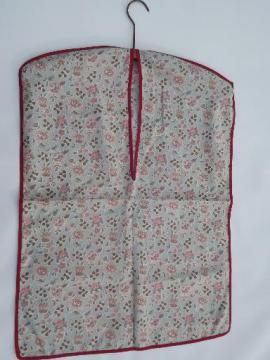 vintage cotton print laundry bag, hanging bag for your sewing, knitting
