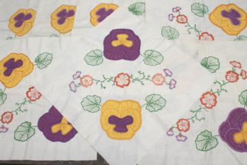 vintage cotton quilt blocks, applique embroidered pansy flowers in lavender & yellow