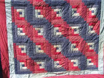 vintage cotton quilt comforter, log cabin patchwork in red and navy blue