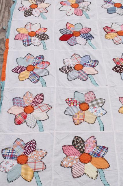 vintage cotton quilt top, applique flowers w/ embroidery stitching, bohemian print sunflowers