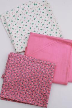 vintage cotton quilting fabric lot, retro pink solid & tiny flower prints