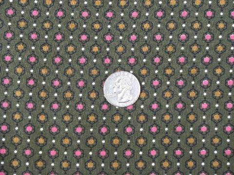 vintage cotton quilting fabric, tiny print dots in pink & gold / olive green