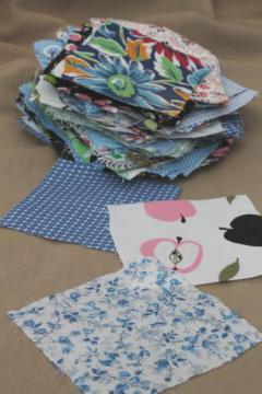 vintage cotton quilting print fabric, charm squares quilt blocks lot 50s 60s prints
