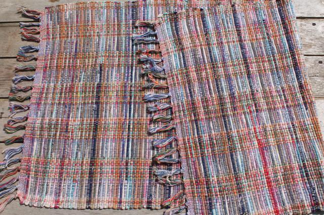 vintage cotton rag rug, scatter or throw rug, country primitive farmhouse style
