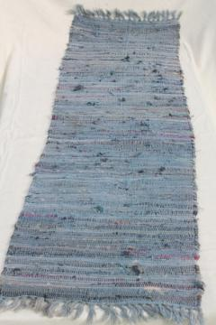 vintage cotton rag rug, stair runner or long hall rug, country primitive farmhouse style