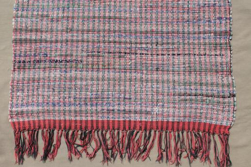 vintage cotton rag rugs, woven throw rugs in primitive red, blue, gold