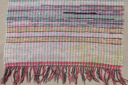 Vintage Cotton Rag Rugs Woven Throw In Primitive Red Blue Gold