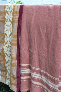 vintage cotton / rayon camp blankets in rusty barn red & mustard gold, farm country primitives