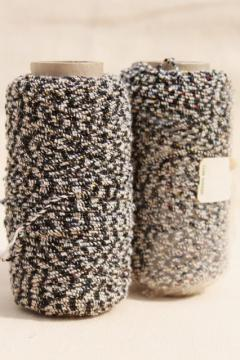 vintage cotton / rayon nubby chenille yarn or embroidery thread, baker's twine black & white