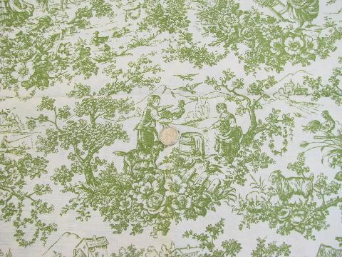 vintage cotton / rayon toile fabric, pastoral scenes w/ goats, green ...