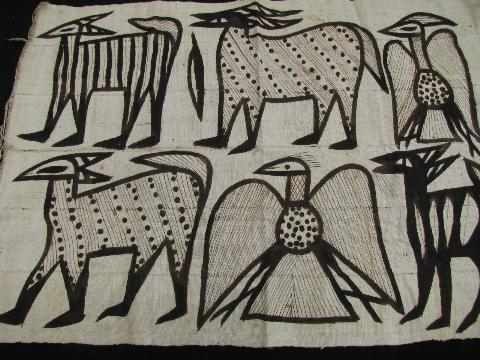 vintage cotton rug or hanging, south american ethnic print, painted llamas / eagle