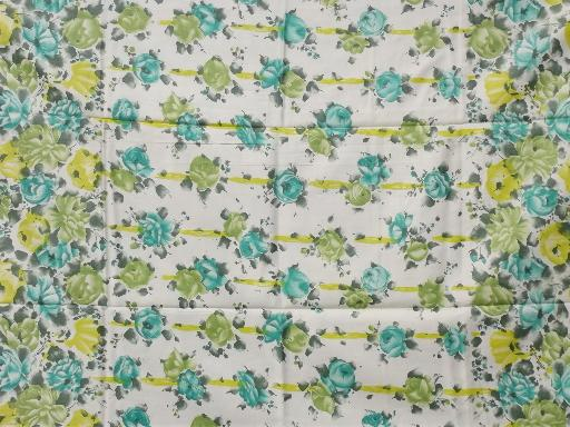 vintage cotton sateen fabric, aqua / yellow roses and ribbons floral print
