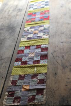 vintage cotton scrap patchwork quilt block table runner for primitive country kitchen