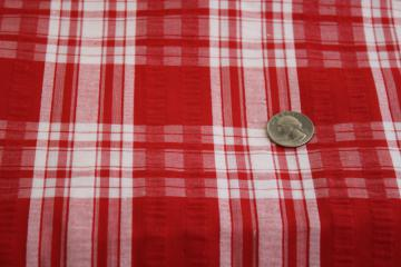 vintage cotton seersucker fabric, red & white plaid for summer sewing projects